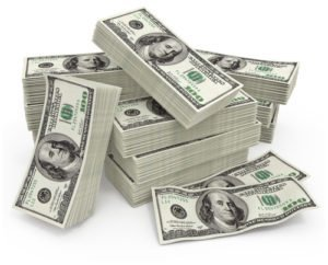 Big sum of money dollars
